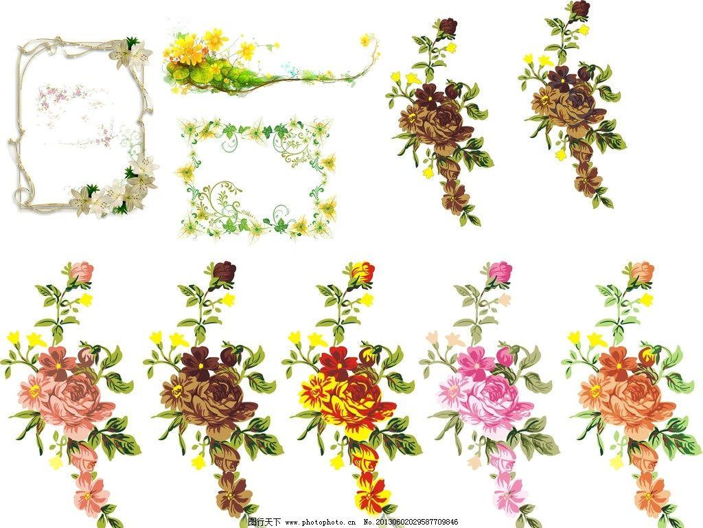 欧式花纹 欧式 花纹创意 黄色 绿色 粉色 边框 花纹 花筐 广告设计