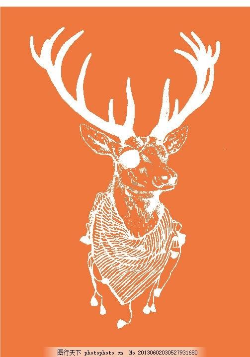 麋鹿 圣诞 春天气息 梅花鹿 小鸟 森林故事 动物招贴 保护动物海报