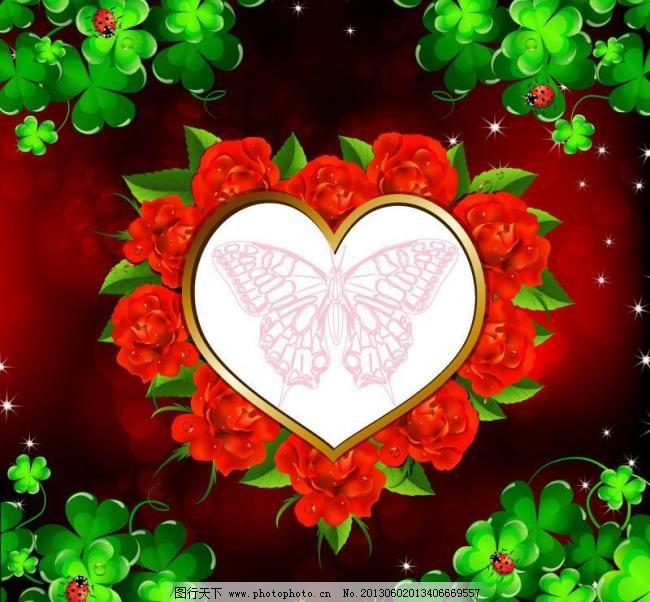 红玫瑰 绿叶 玫瑰 水珠 蝴蝶图案 情人节背景 情人节 浪漫 纹 欧式