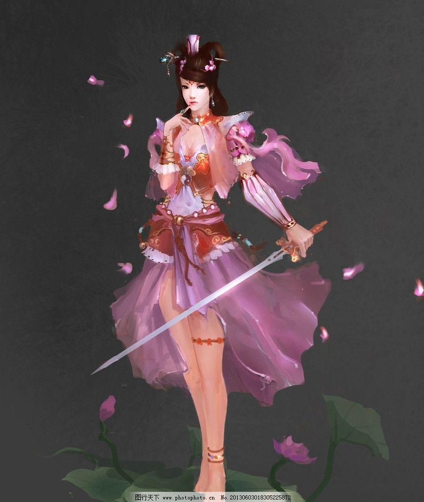 游戏美女 古装美女 武侠 侠女 荷花 荷叶 唯美 数字绘画 艺术