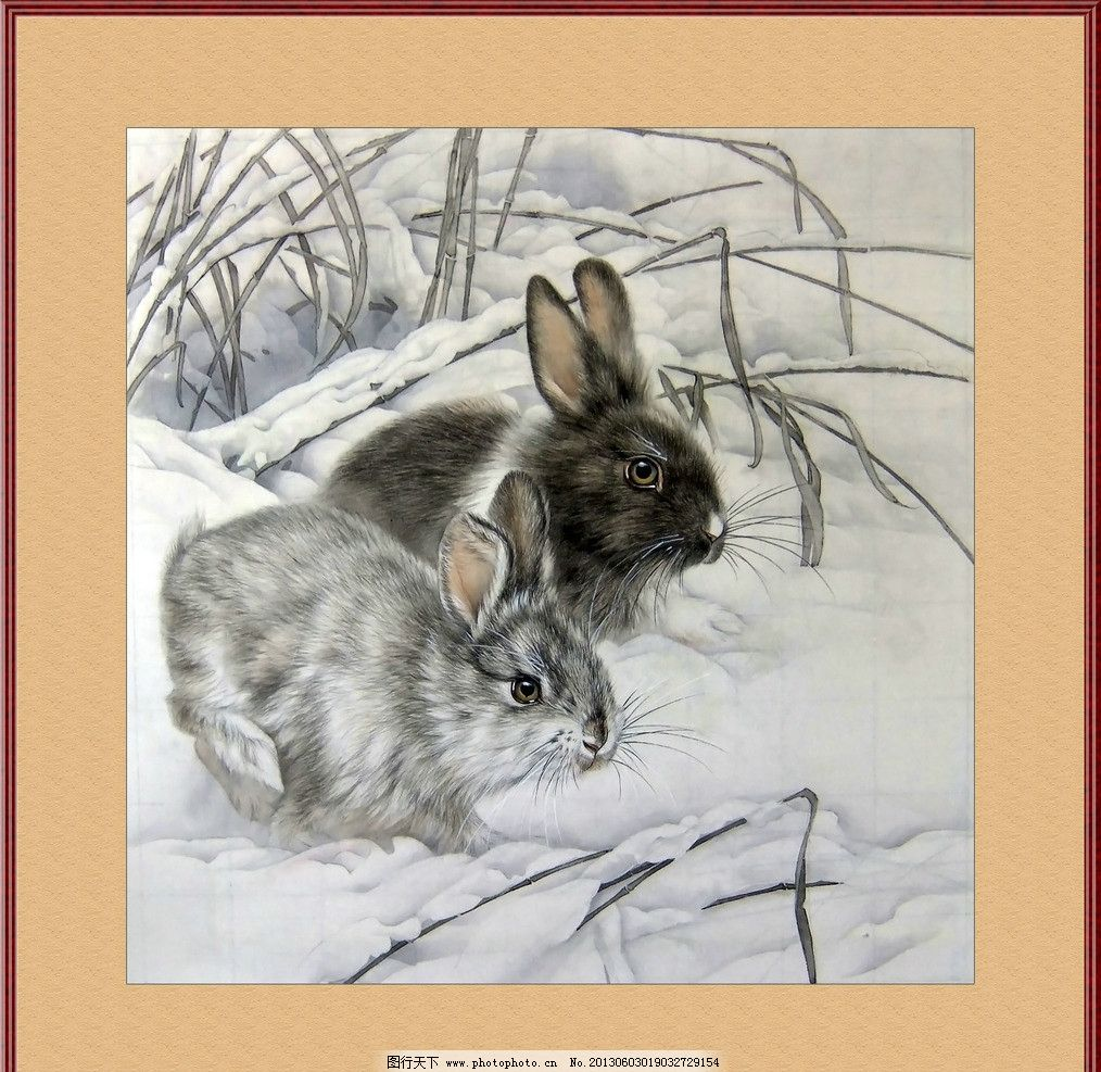 工笔画兔子 工笔画 水墨画 字画 兔子 冬季 白雪 茅草 绘画书法 文化