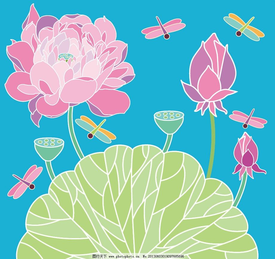 红色 花 植物 图案 蜻蜓 荷叶 绿色 莲子 美术绘画 文化艺术 矢量 ai