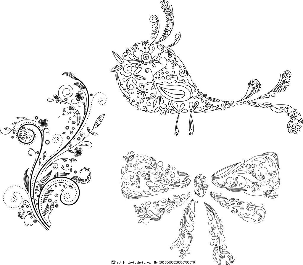 植物花纹 动物 小鸟 蝴蝶 蝴蝶结 欧式 精美 潮流花纹 花纹花边