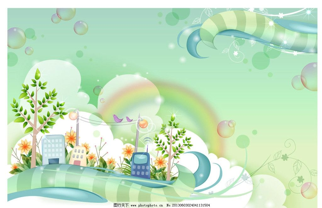 卡通风景 风景 春天风景 手机 电话 树 云 卡通 气泡 花纹 花藤 彩虹