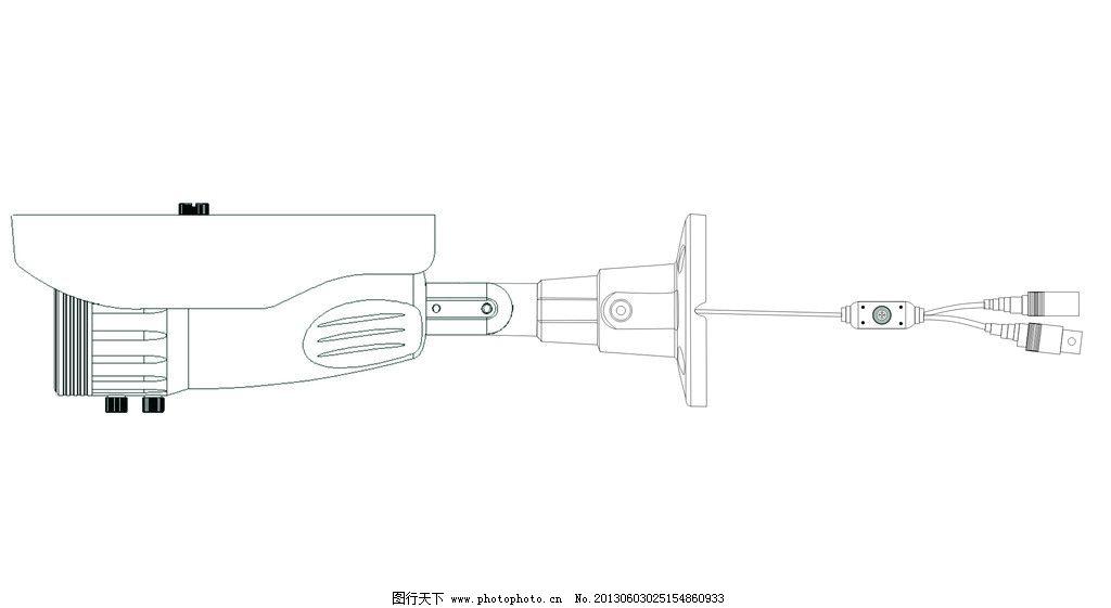 红外防水机接线线描图图片