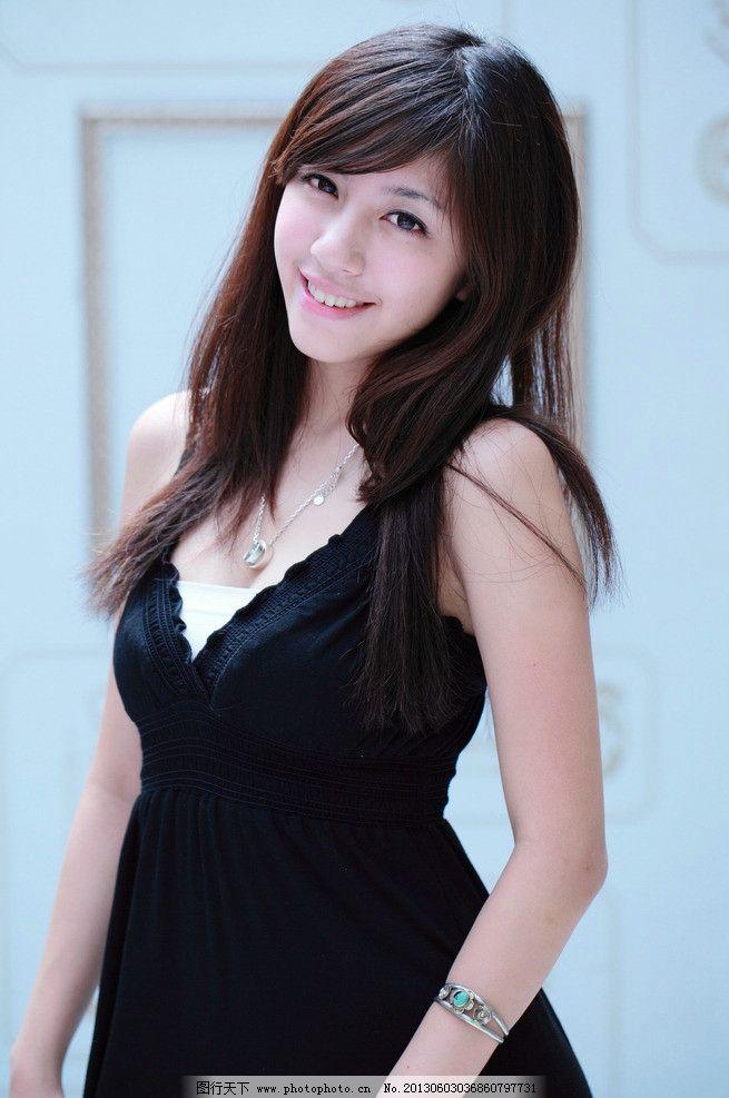 黑色连衣裙美女 清纯美女 气质美女 小清新 可爱美女 青春活力 白皙美