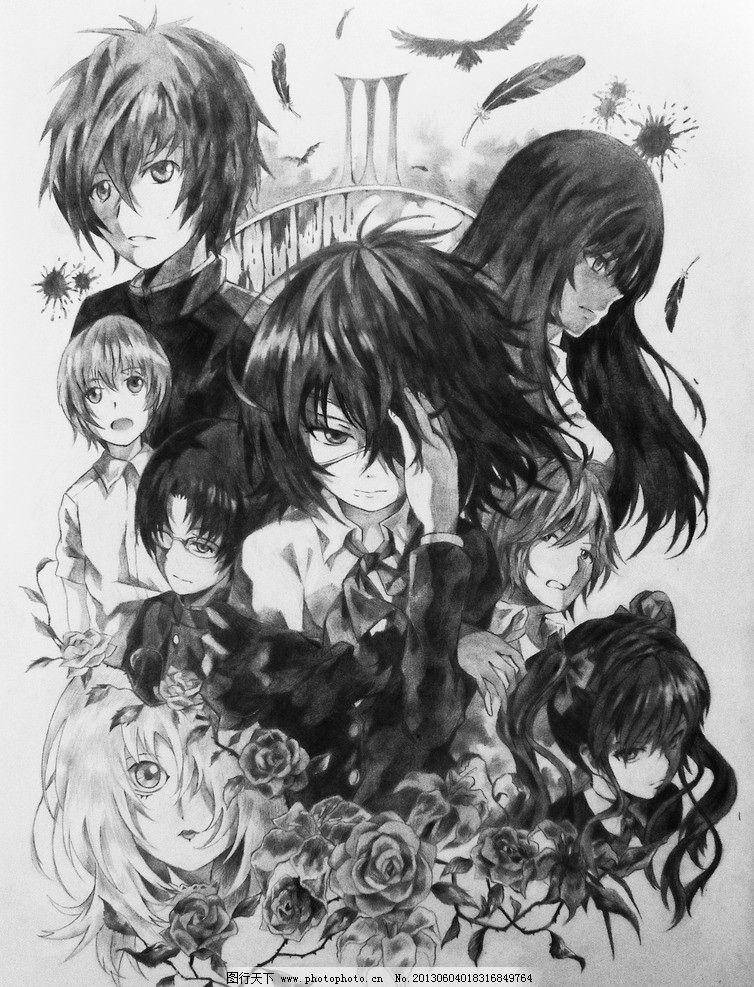 动漫 插画 动漫插画 卡通 动漫人物 卡通人物 日本动漫 黑白稿 众人