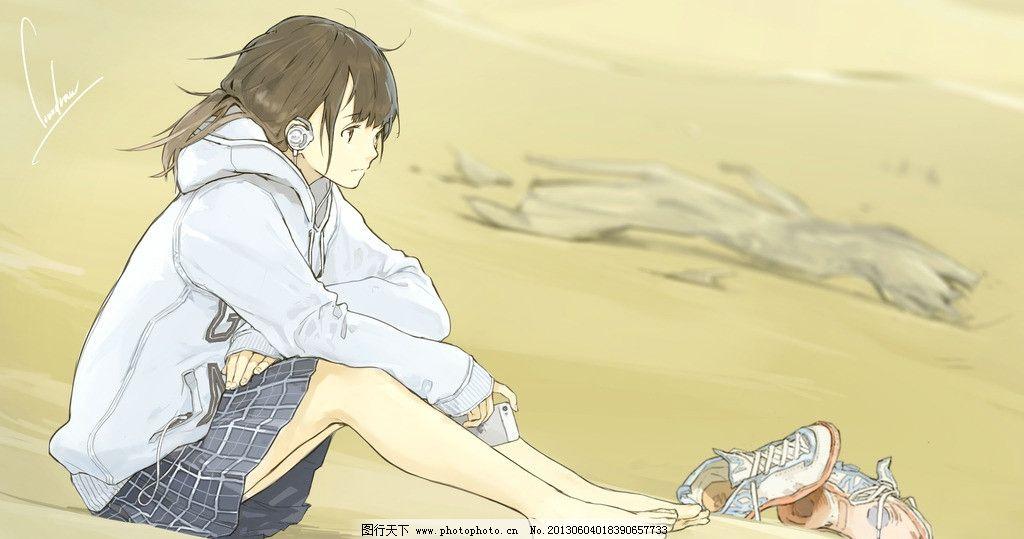 动漫 插画 动漫插画 卡通 动漫人物 卡通人物 日本动漫 鞋子 耳机