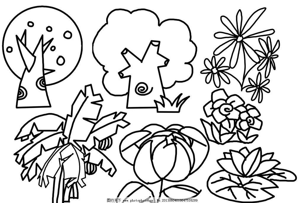 幼儿简笔画 植物 植物简笔画素材 植物简笔画模板 植物简笔画 简笔画