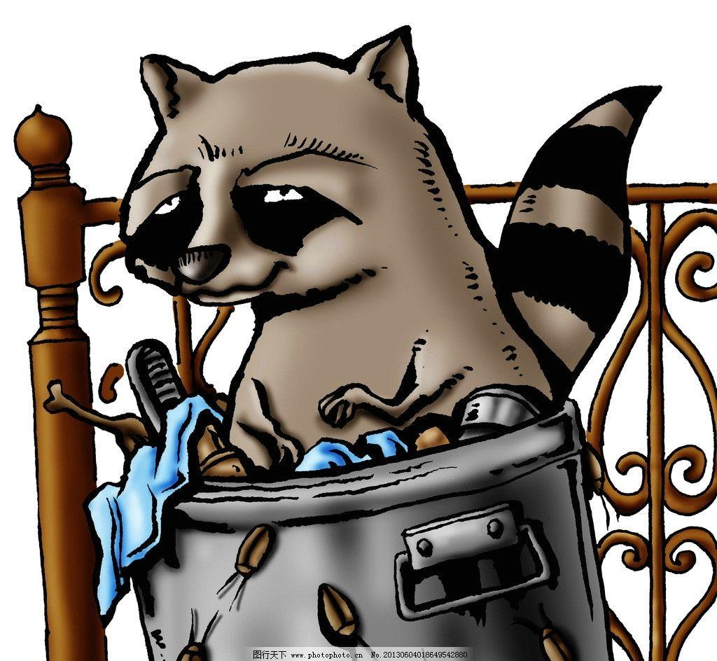 动物 垃圾桶 创意 漫画