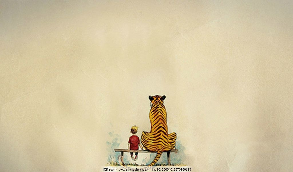 老虎与小孩 老虎 小孩 黄色 背影 椅子 其他 动漫动画 设计 72dpi tif