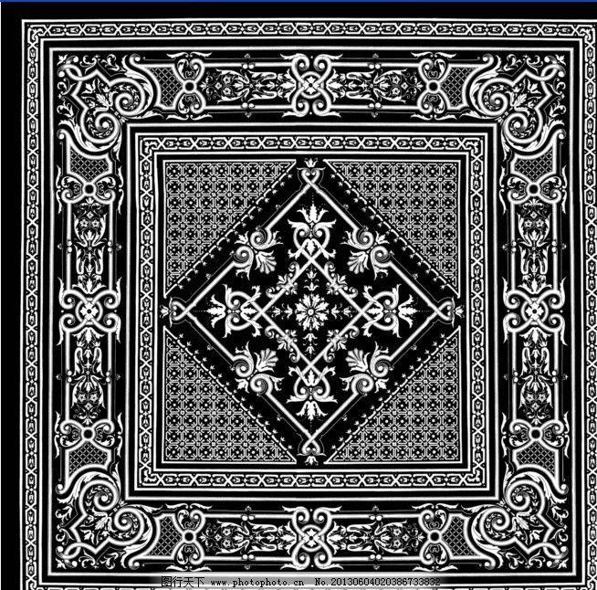 古典图案 欧洲古典花型 围巾花型 几何图形 黑白 底纹图样 花边花纹