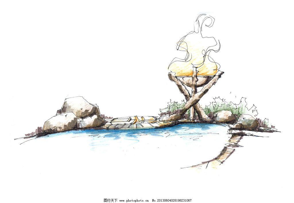 温泉手绘图图片