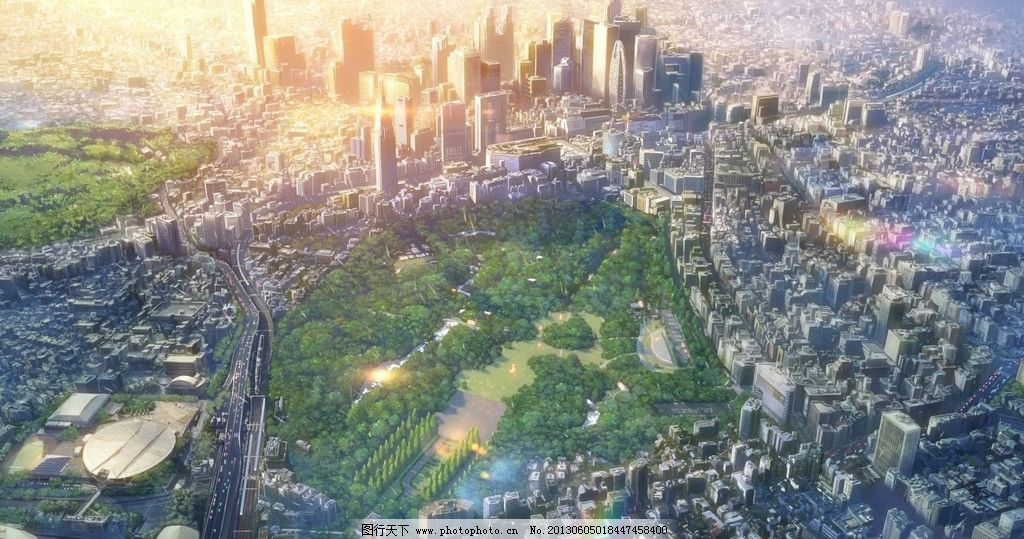 动漫风景 城市 树林 城市风景 言叶之庭 新海诚 唯美 手绘壁纸