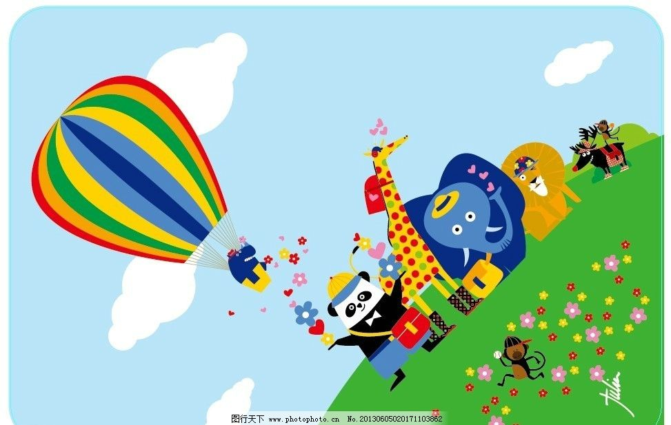 卡通汇集 卡通 动漫 热气球 大象 长颈鹿 熊猫 狮子 草地 可爱 动物