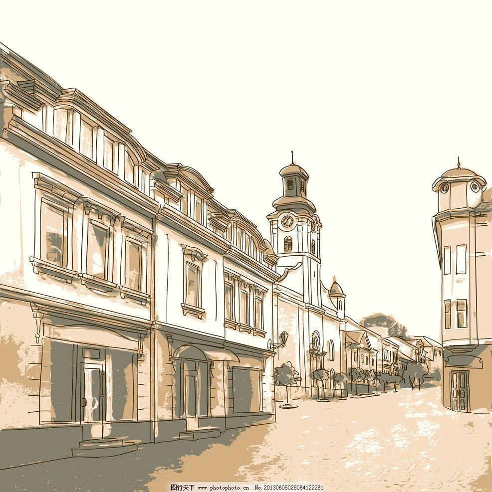怀旧城市建筑 怀旧 城市 建筑 欧式古典建筑 欧式 高楼 手绘 底纹