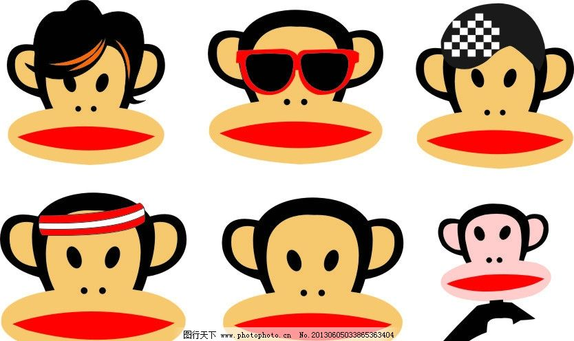 卡通 大嘴猴 矢量图 各种 颜色 矢量素材 其他矢量 矢量 cdr