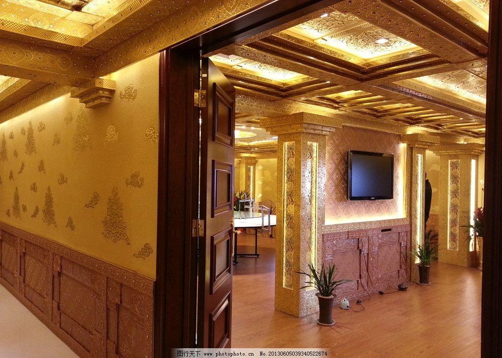 會所走廊吊頂設計實景圖片