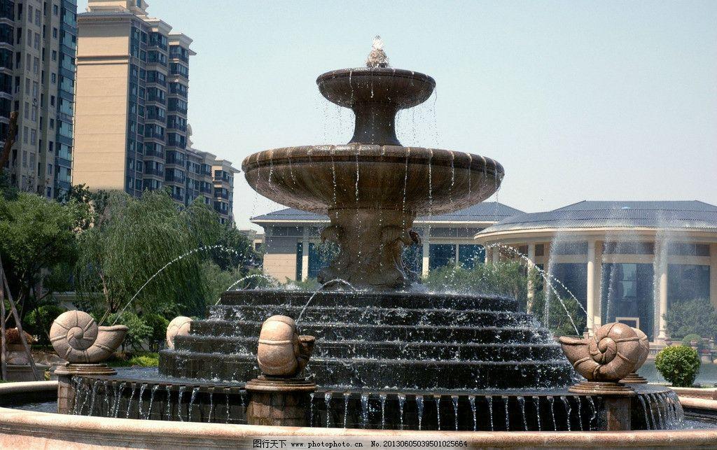 喷泉 雕塑 水 石头 小品