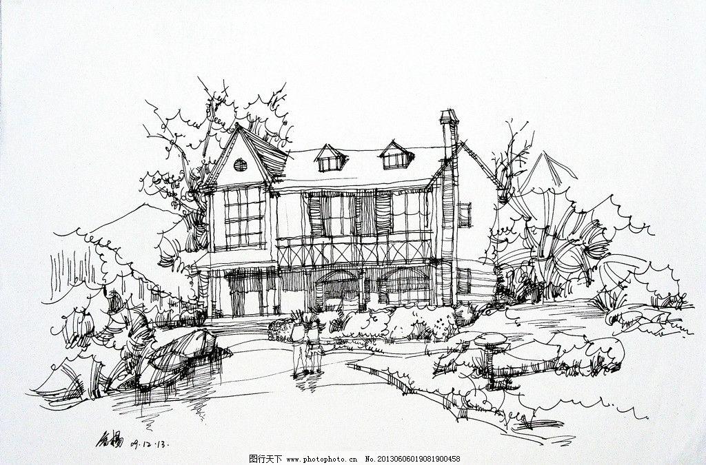 手绘风景图片铅笔画-赏古风黑白手绘铅笔画