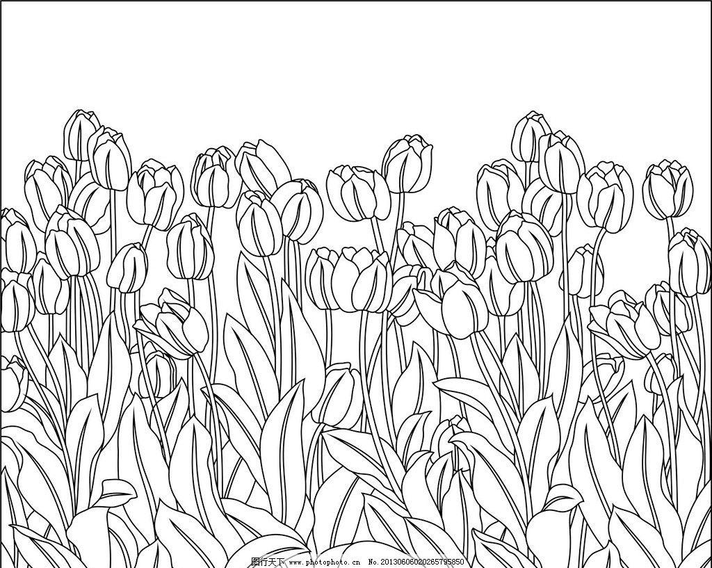 玻璃背景图案 艺术玻璃 背景 底纹 黑白 花朵 花瓣 郁金香 浮雕 立体