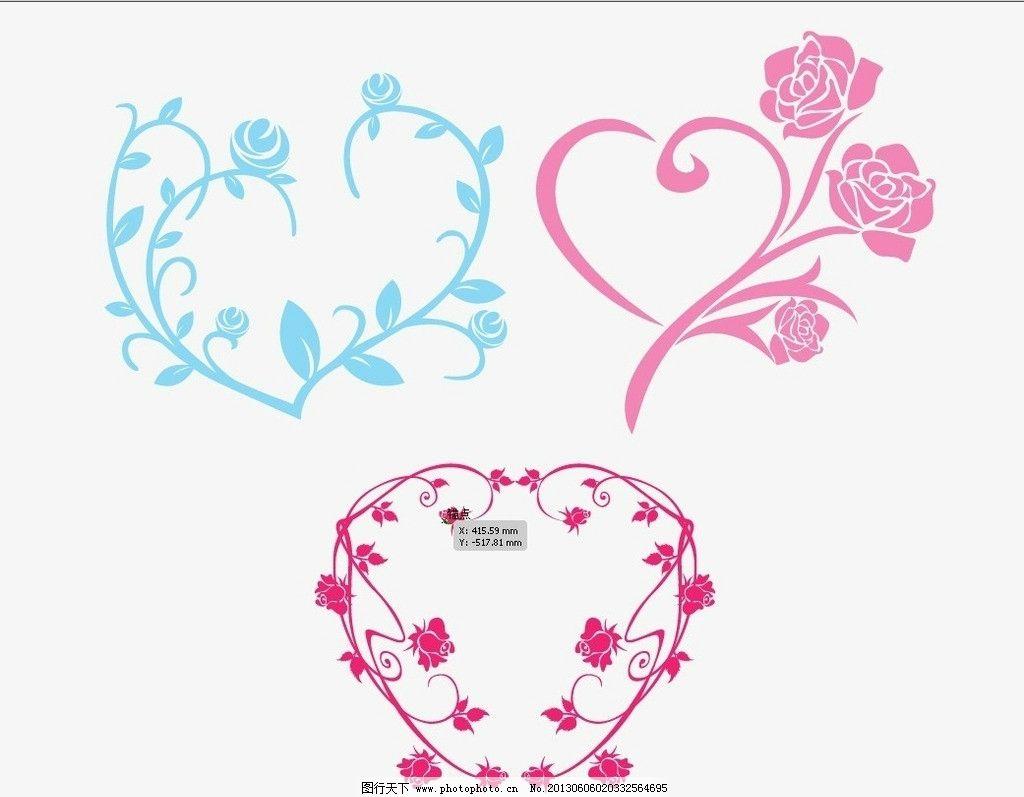 矢量花 矢量植物 玫瑰 粉红玫瑰 彩色花朵 花纹花边 底纹边框 矢量 ai