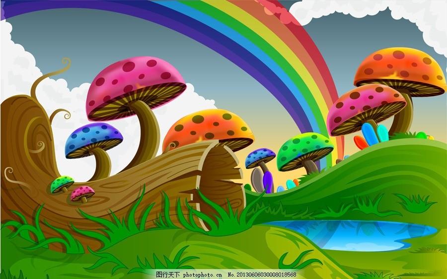 卡通七彩蘑菇 彩虹 树木 白云 草地 矢量素材 移动海报