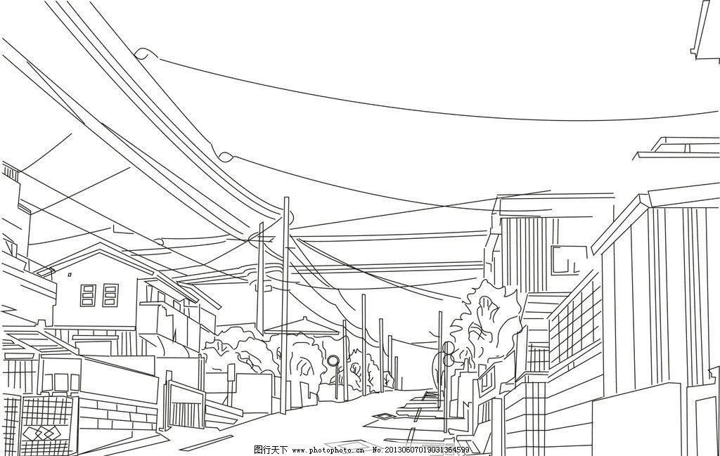 漫画绘图 建筑手绘 黑白线条 房子 天线 美术绘画 文化艺术 矢量 cdr