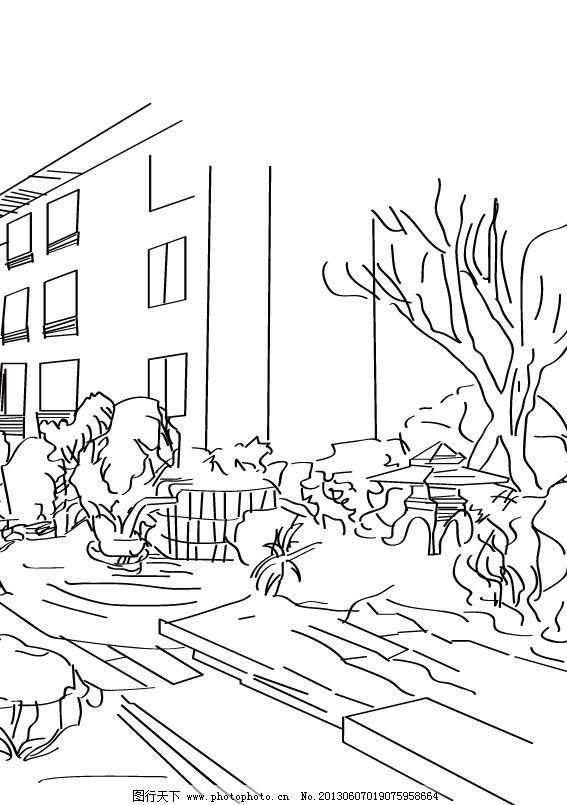 建筑手绘 手绘 黑白手绘 线条