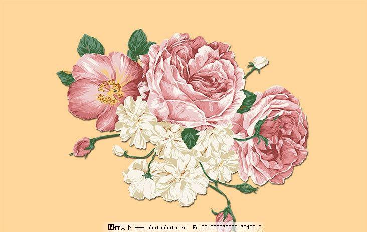 花朵 手绘 小清新 鲜花 玫瑰 清新 典雅 psd分层素材 源文件 150dpi p