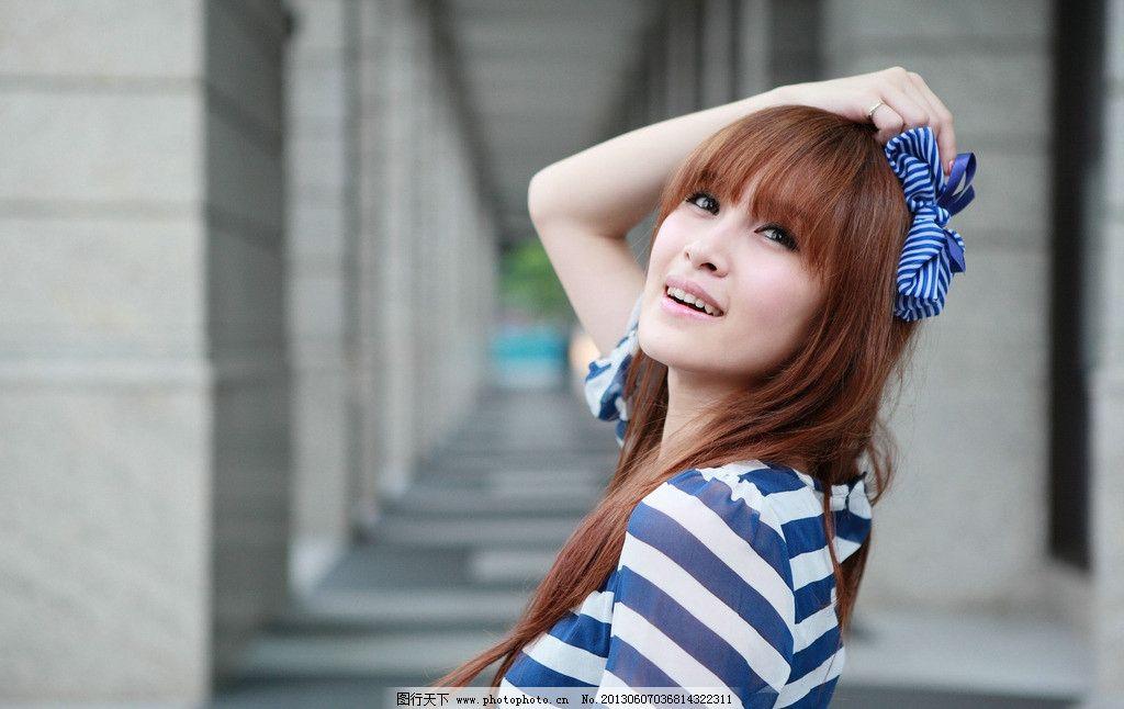 条纹服饰美女 气质美女 青春活力 清纯美女 可爱美女 青春靓丽 高清