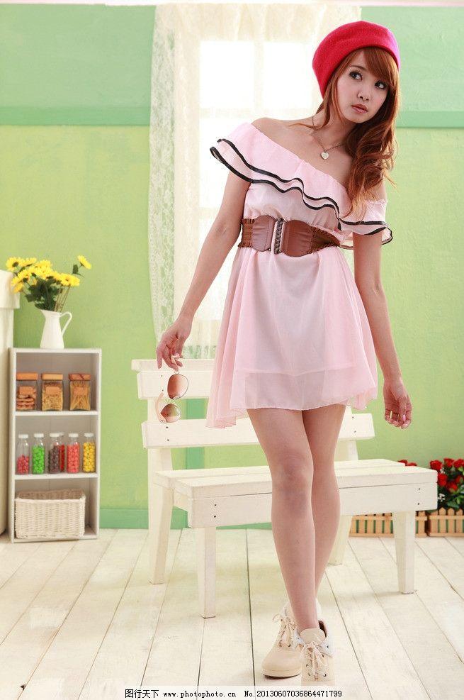 粉色连衣裙美女 气质美女 清纯美女 青春靓丽 可爱美女 天生丽质 粉嫩
