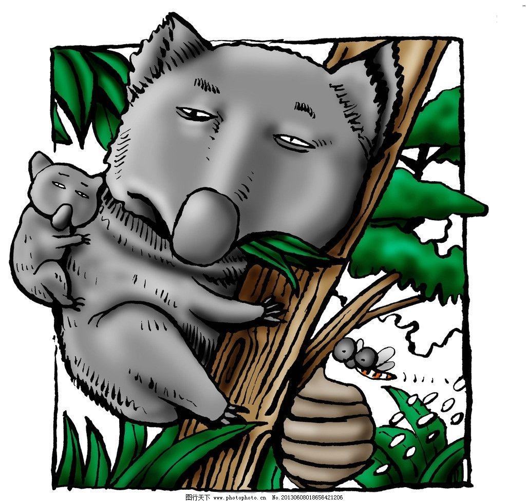 漫画人物 可爱小熊 爬树