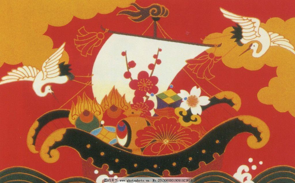 插画 日本画 仙鹤 大海 手绘 船 传统