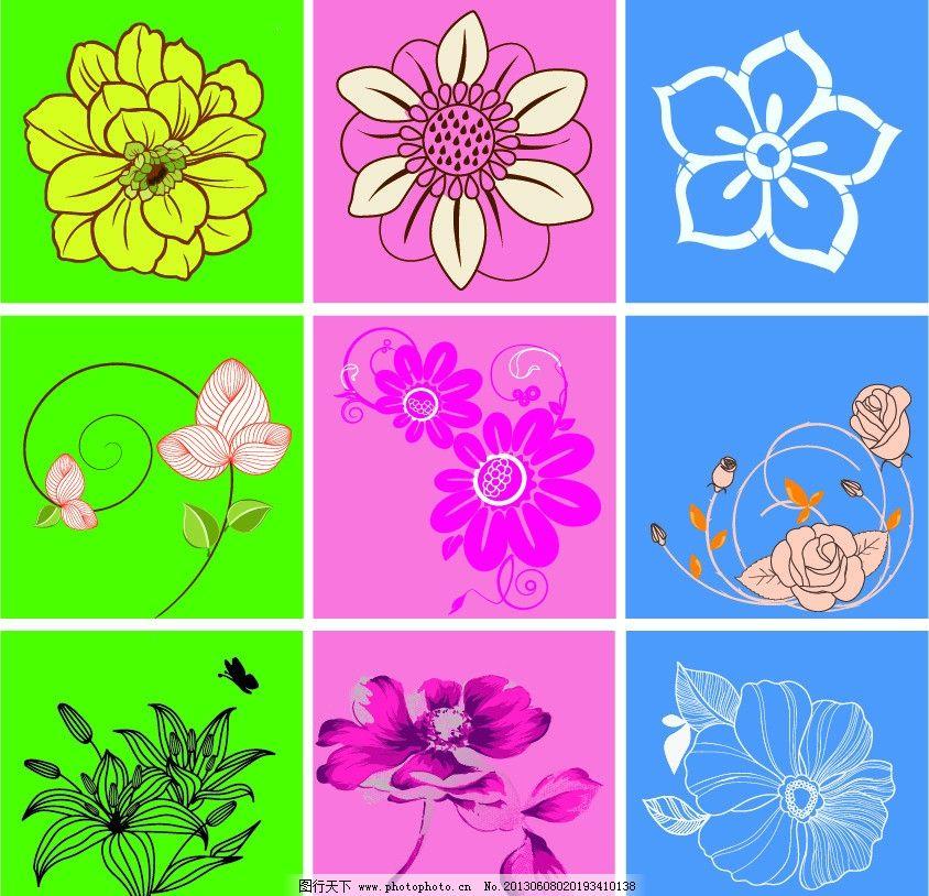 花朵 玫瑰花 蔷薇花 百合花 月季花 时尚招贴 花卉 花会 dd图案 卡通
