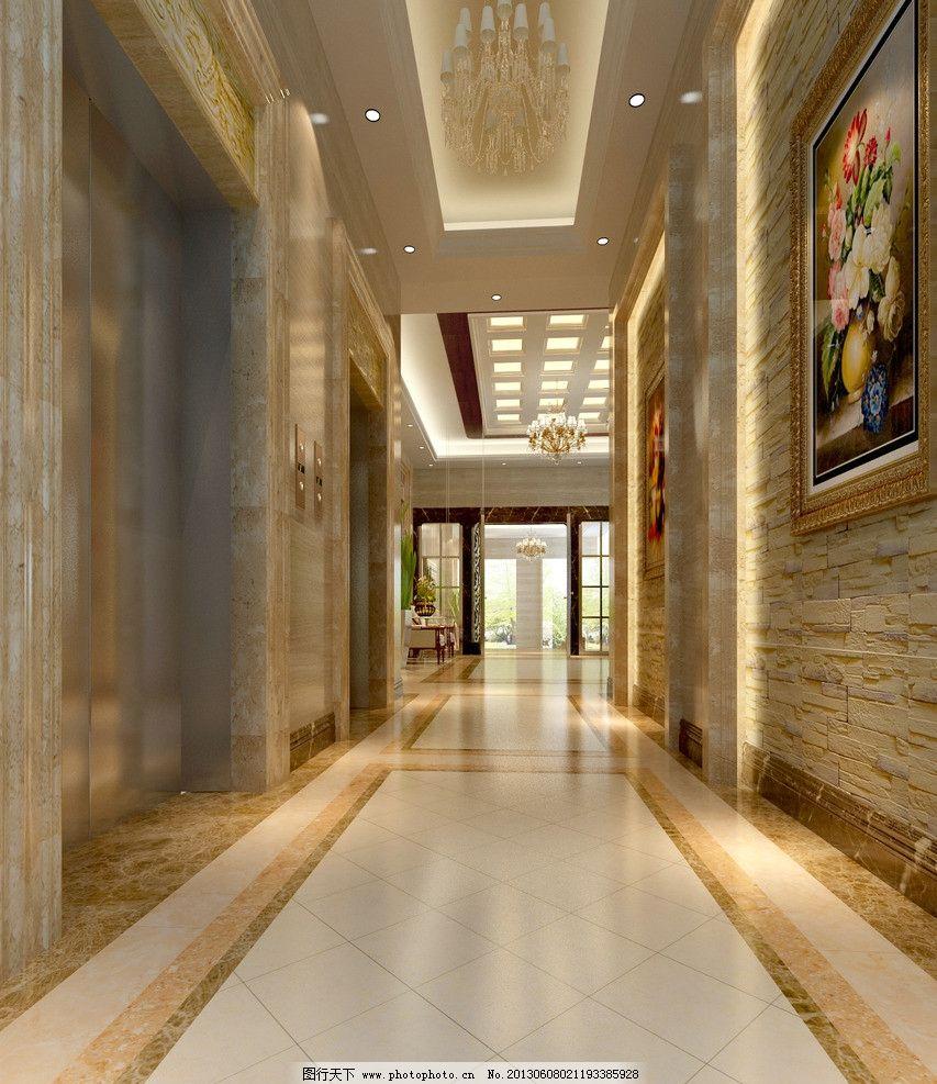 电梯大堂效果 电梯 挂画 射灯 室内 立体 3d设计 设计 72dpi jpg