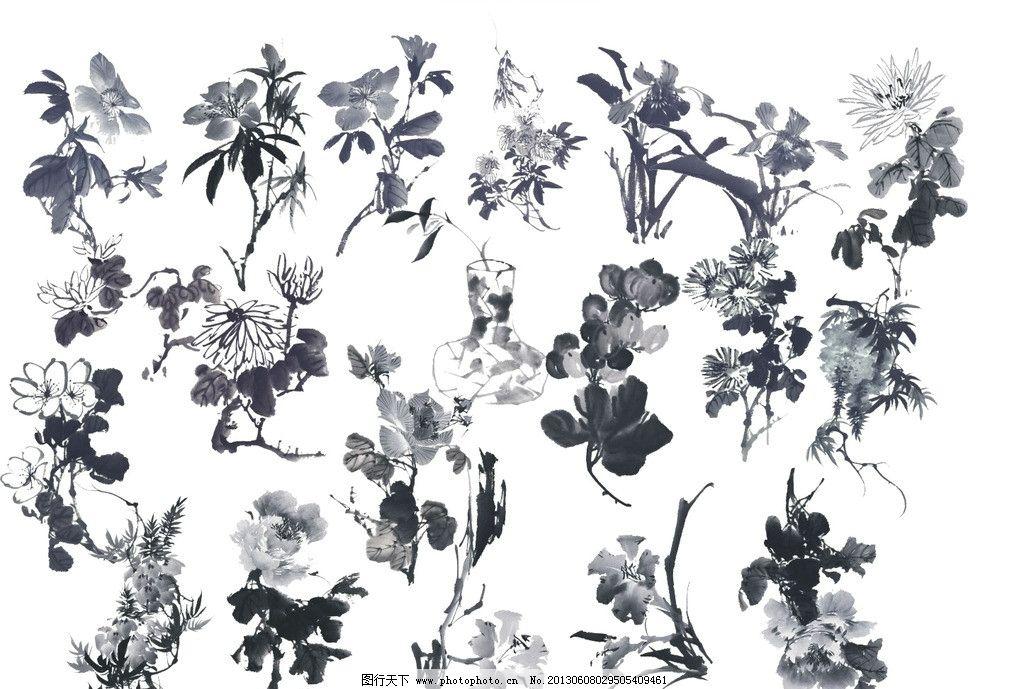 水墨画素材 灰度 黑白水墨画