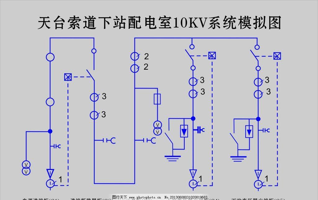 电路图 天台索道 九华山 配电室 模拟图 其他设计 广告设计 矢量