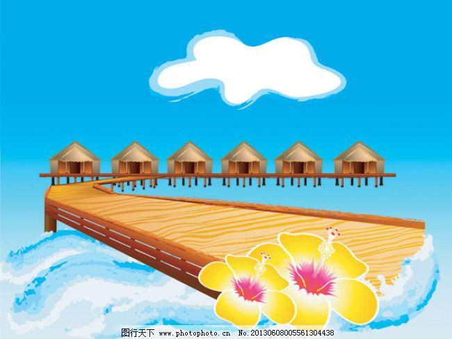 海边 椰子树 大海 沙滩 海边免费下载 木房子 桥 矢量图 其他矢量图