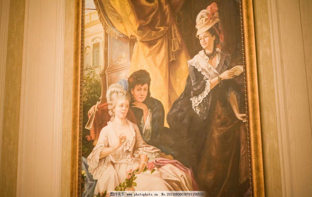 豪宅装饰画 欧式油画 欧式油画画框 木质画框 白色木质画框 美术绘画