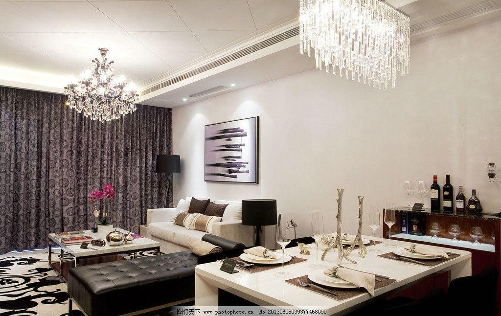 豪宅客厅 吊灯 茶几 窗帘 油画 红酒 室内摄影 建筑园林 摄影 240dpi