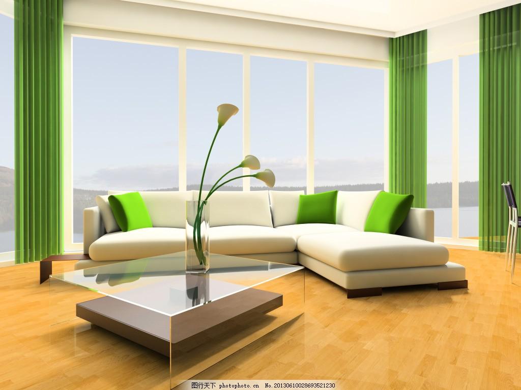 绿色客厅设计 客厅摆设 落地窗 白色