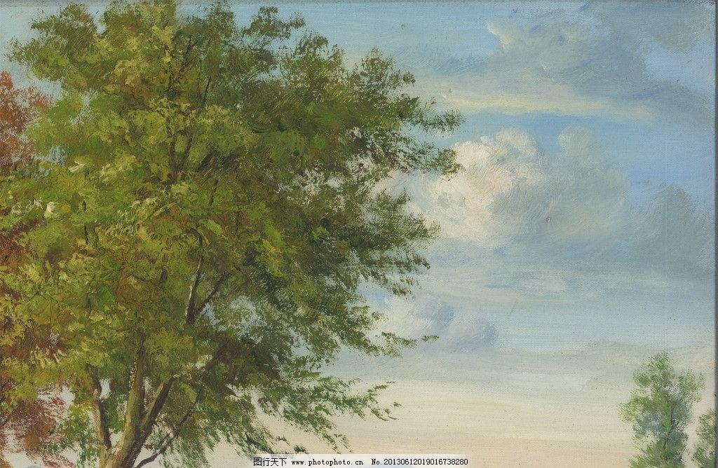 油画 树 风景画 装饰画 云 山 原创油画 绘画书法 文化艺术 设计 96
