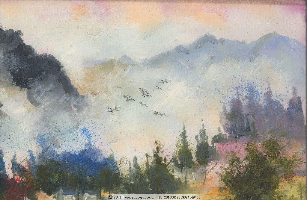 风景画 油画 装饰画 壁画 仿真油画 中式山水 松山 原创油画 绘画书法图片