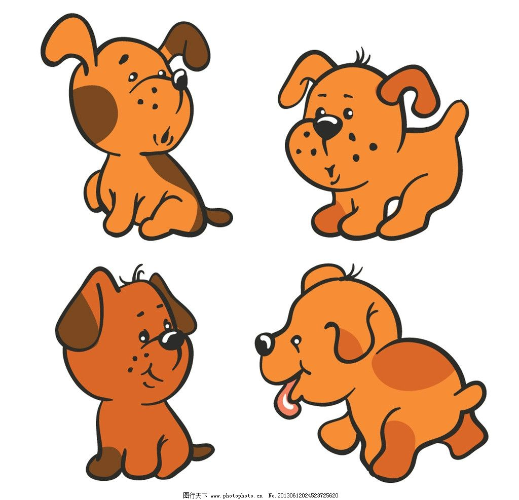 卡通动物 小狗矢量 野生动物