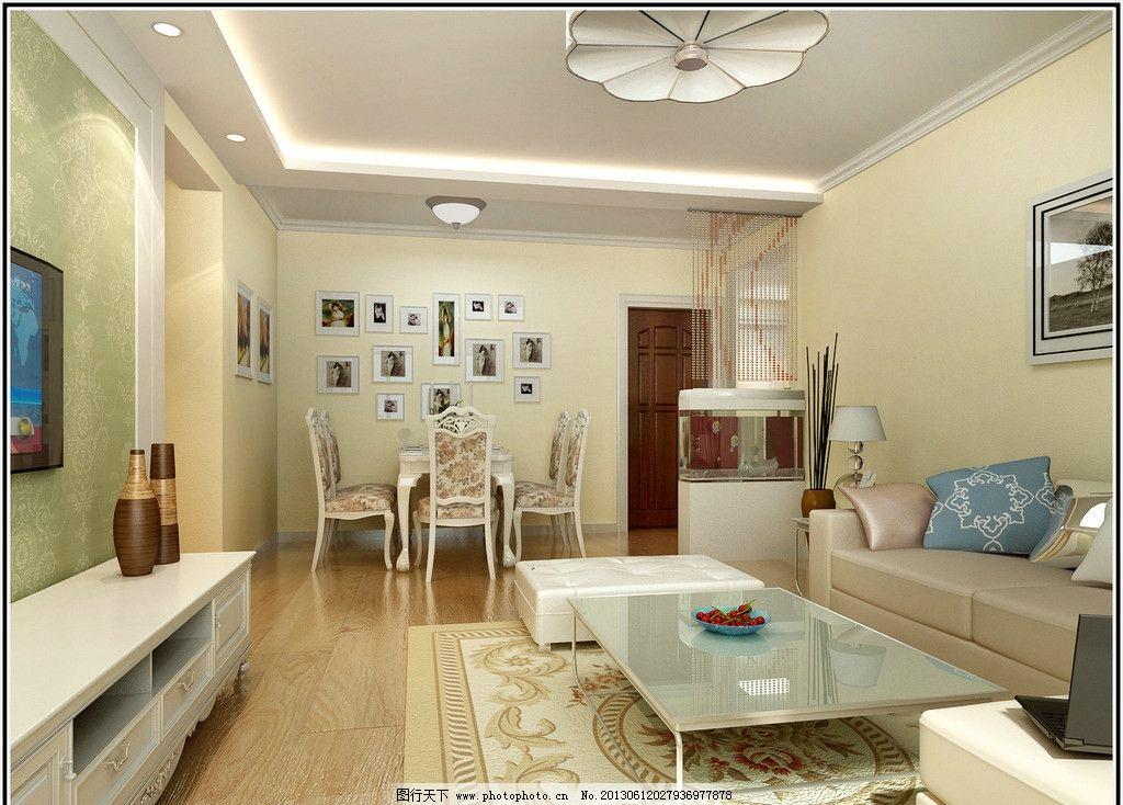 室内设计 客厅 电视墙效果图 玄关 吊顶 照片墙 鱼缸 现代简约室内