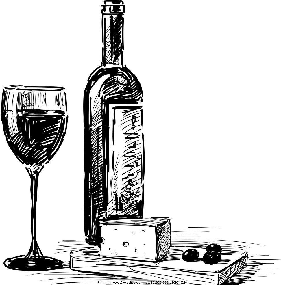 手绘素描酒水 面包 奶酪 酒水 饮料 葡萄酒 红酒 香槟 手绘 素描 食品