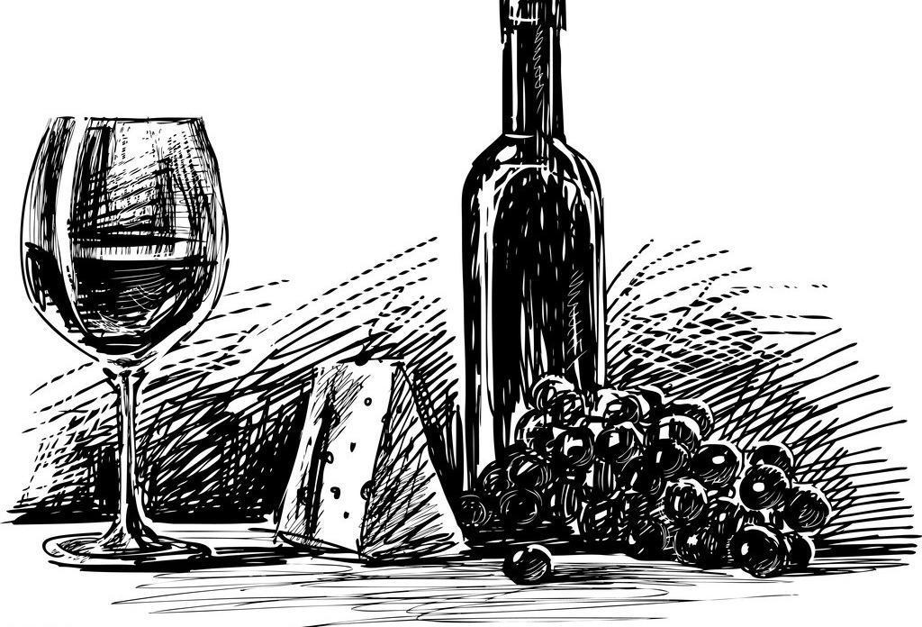 手绘素描酒水图片