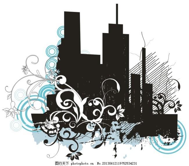 城市系列(1) 剪影 藤蔓 叶子 插画 白色