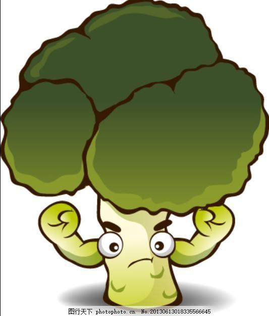 矢量卡通西兰花 矢量图 卡通图片 拟人蔬菜 白色
